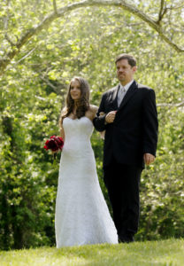 Bride and father waiting for the wedding ceremony to start in Annandale, Virginia