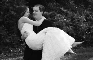 Portrait of the wedding couple after their outdoor wedding ceremony in Annandale, Virginia