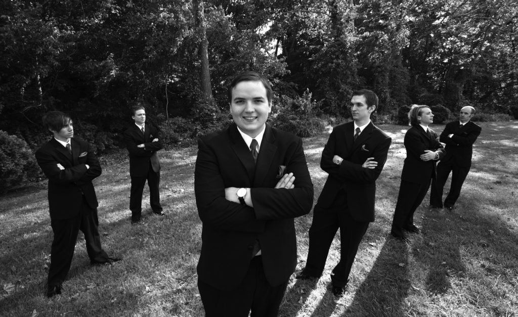 Portrait of groomsman before the wedding ceremony in Annandale, Virginia.