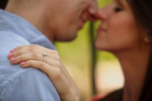 Engagement portait session, wedding ring detail in Old Town Alexandria, Va.