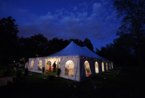 Backyard wedding reception tent in Annandale, Virginia.