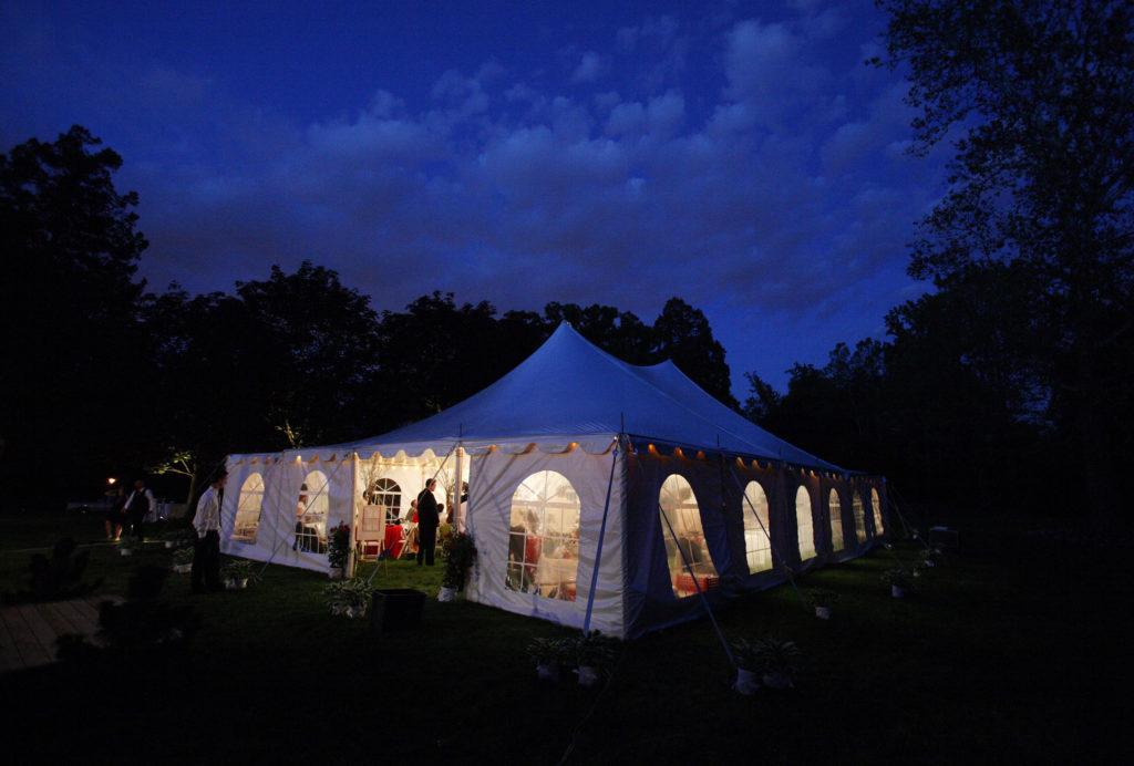 Backyard wedding reception tent in Annandale, Virginia.