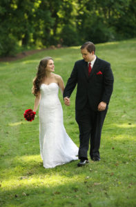 Bride and groom portrait after their wedding ceremony in Annandale, Virginia.