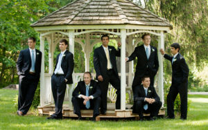 Groomsmen outdoor portrait in a gazebo at Alwyngton Manor in Warrenton, Virginia.