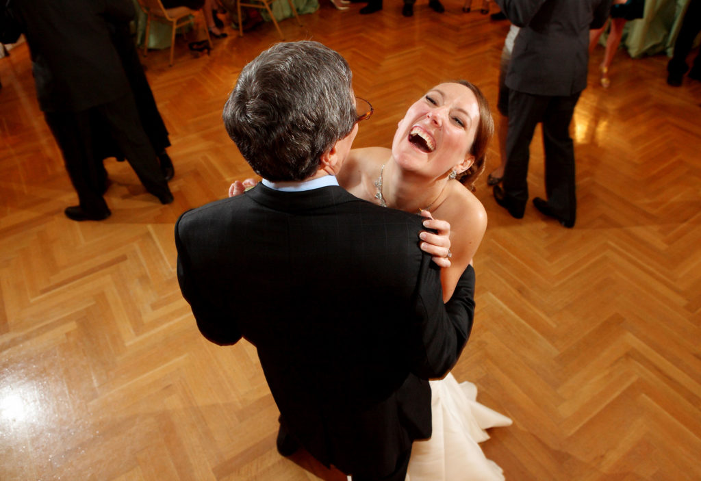 Father daughter dance during a wedding reception at Oxon Hill Manor in Oxon Hill, Maryland.