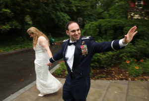 Bride and groom leave their wedding reception at Fort C.F. Smith in Arlington, Virginia.