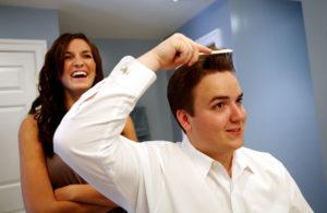 Groom getting ready before his wedding in Annandale, Virginia.