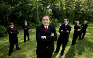 Portrait of groomsmen before the wedding ceremony in Annandale, Virginia.