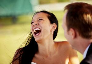wedding emotion bride laughs