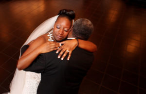 Father daughter dance during a wedding reception in Norfolk, Virginia.