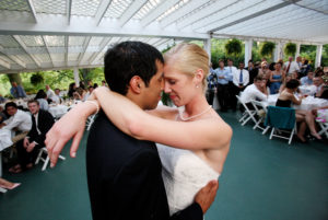 First dance with the bride and groom during their wedding reception held at Alwyngton Manor in Warrenton, Virginia.