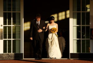 Bride and her father walk out before the wedding ceremony at the King Family Vineyards in Crozet, Virginia.