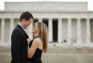 Proposal portrait shot in Washington D.C. in front of the Lincoln Memorial on the National Mall.